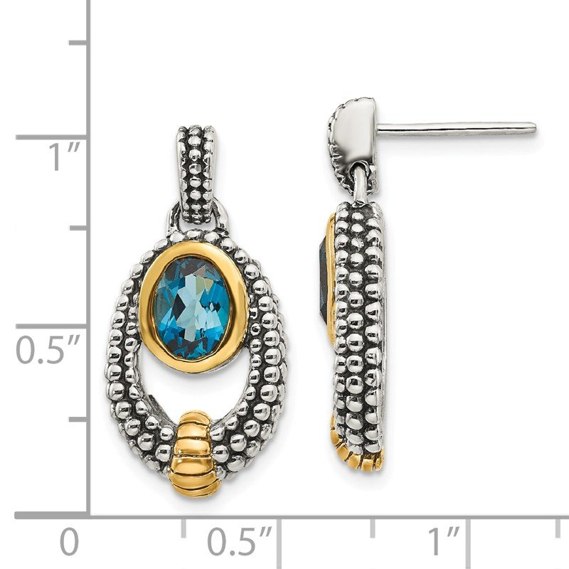Shey Couture Sterling Silver w/Gold Flash-plating London Blue Topaz Dangle Earrings