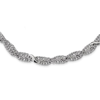 Sterling Silver Rhodium-Plated Double Twisted Cable 2in ext. Necklace