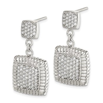 Sterling Silver CZ Square Dangle Earrings
