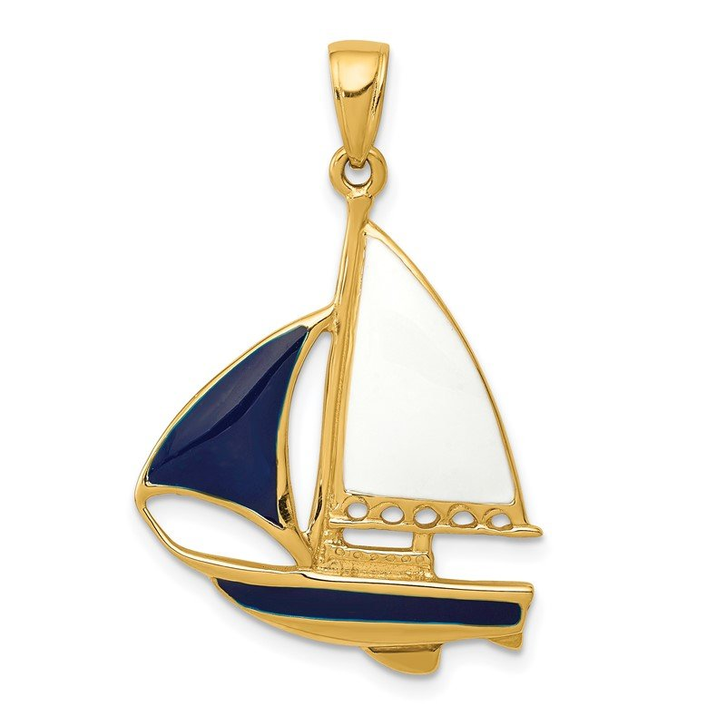 Quality Gold 14K 2-D Blue and White Enameled Sailboat Pendant