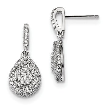 Sterling Silver Brilliant Embers Rhodium-plated CZ Dangle Post Earrings