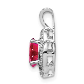 Sterling Silver Rhodium-plated Diam. & Created Ruby Pendant