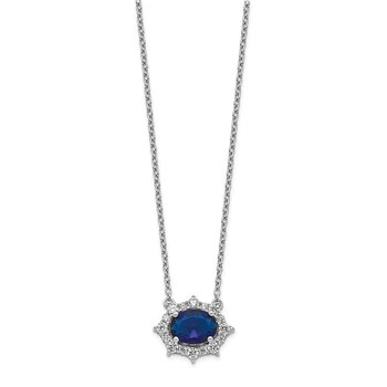 14k White Gold Diamond and Oval Sapphire 18 inch Necklace