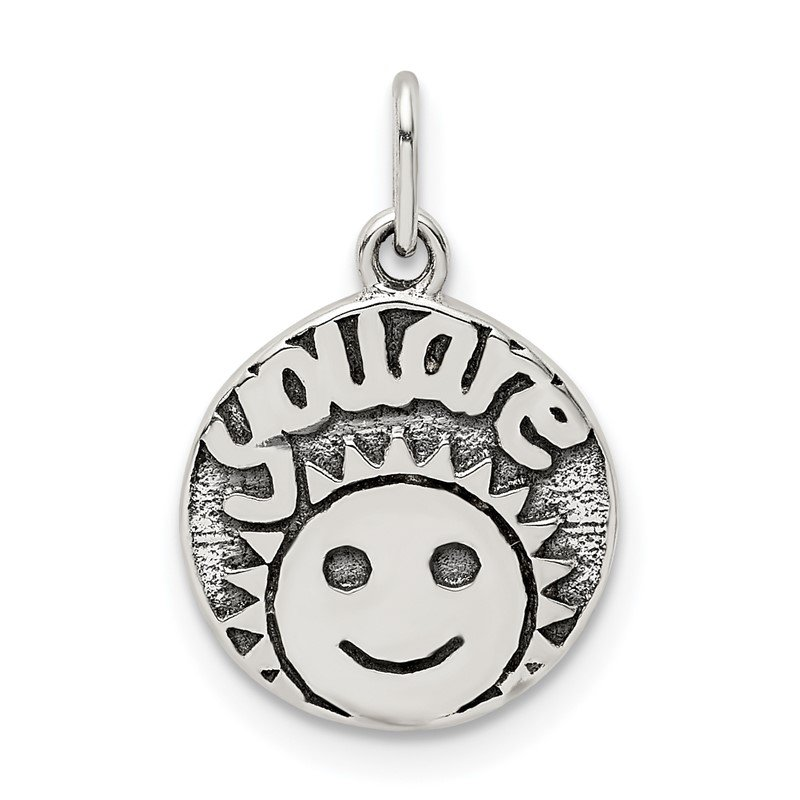Quality Gold Sterling Silver Antiqued Smile Sun Charm