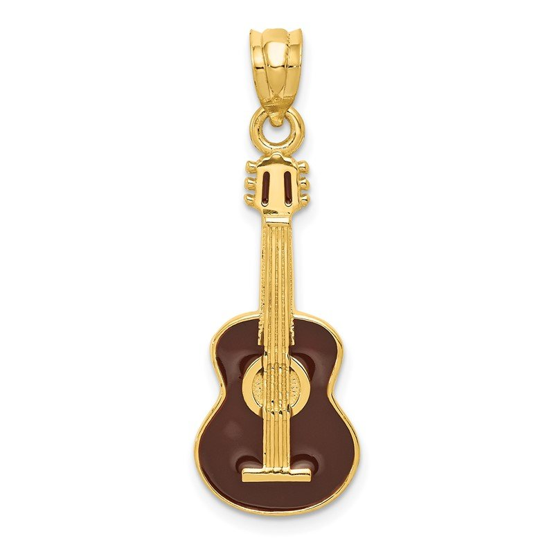 Quality Gold 14k Enameled Guitar Pendant