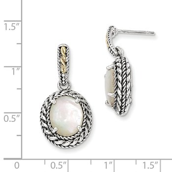 Sterling Silver w/14k Antiqued MOP Post Dangle Earrings