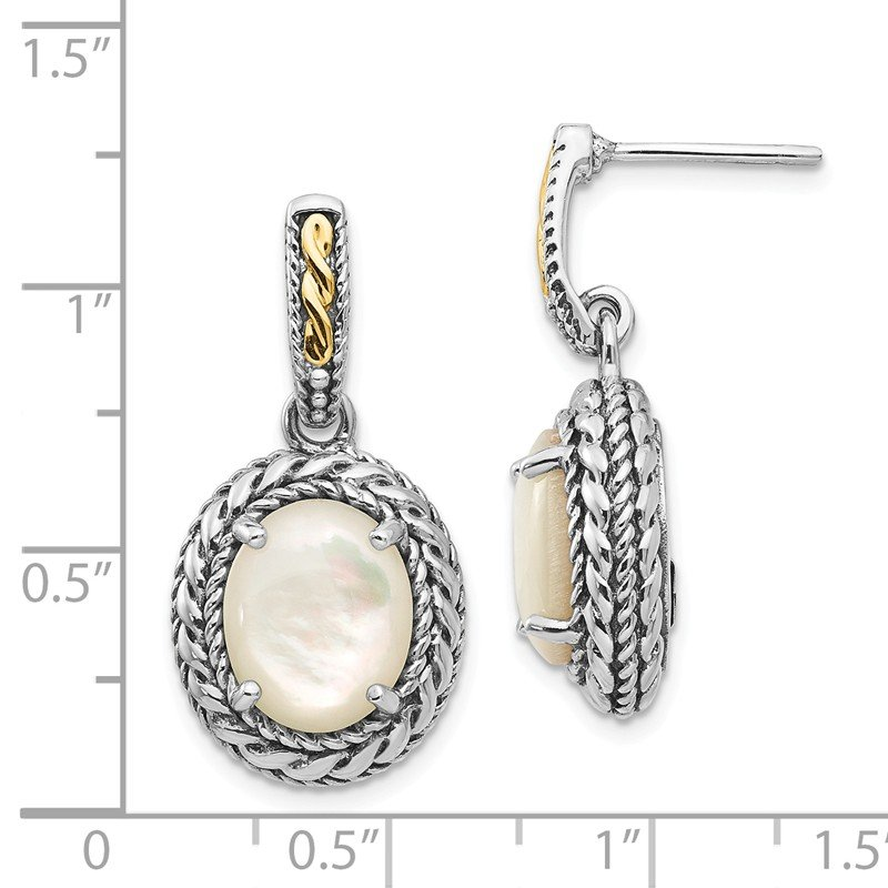 Shey Couture Sterling Silver w/14k Antiqued MOP Post Dangle Earrings