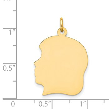 14k Plain Large .035 Gauge Facing Left Engravable Girl Head Charm