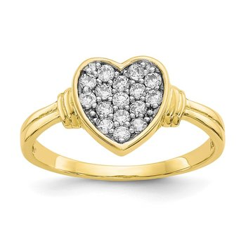 10K w/Rhodium CZ Heart Ring