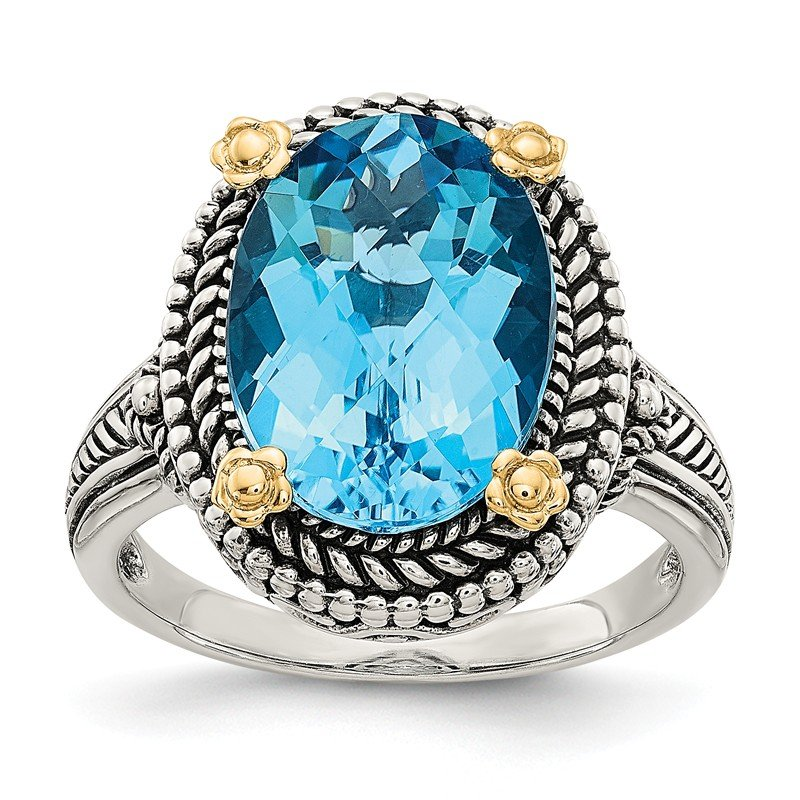 Shey Couture Sterling Silver w/14k Swiss Blue Topaz Ring