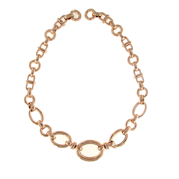 18KT ROSE GOLD GRADUATED OVAL LINK NECKLACE