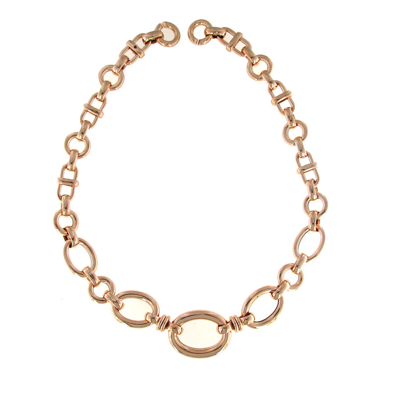 Roberto Coin 18Kt Rose Gold Graduated Oval Link Necklace