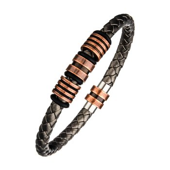Metallic Grey Braided Leather Copper Beads Bracelet