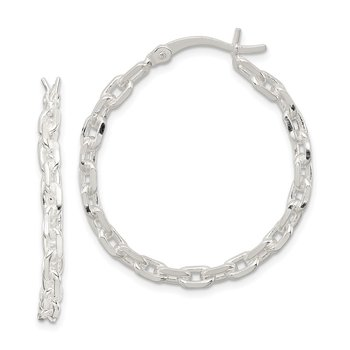 Sterling Silver Polished Cable Chain 3x30mm Hoop Earrings