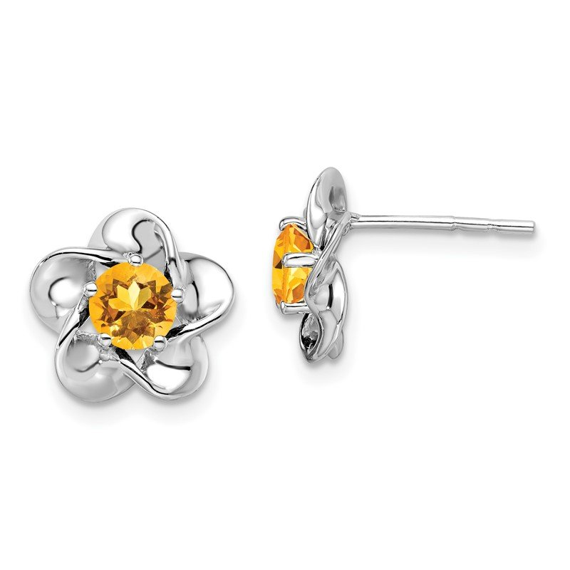Quality Gold Sterling Silver Rhodium-plated Floral Citrine Post Earrings