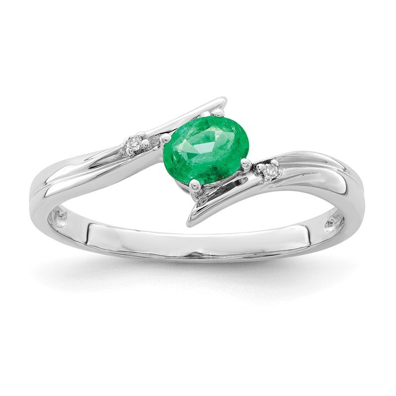 Quality Gold Sterling Silver Rhodium-plated Emerald and Diamond Ring