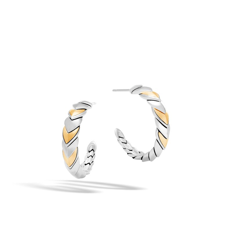 John Hardy Legends Naga Small Hoop Earring in Silver and 18K Gold