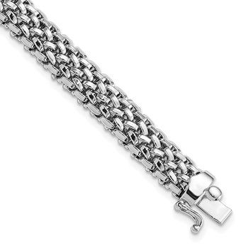 14k White Gold 7.25in 7mm Polished Mesh Bracelet