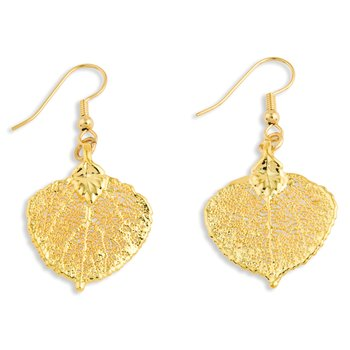 24k Gold Dipped Aspen Leaf Gold-tone Dangle Earrings