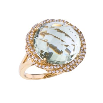 14k Yellow Gold Green Amethyst and Diamond Ring