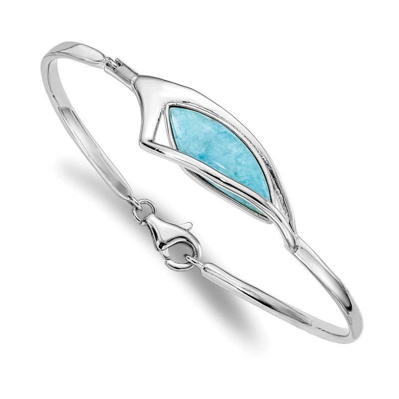 Quality Gold Sterling Silver Rhodium-plated Larimar w/ Clasp Bangle