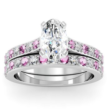 Pave Pink Sapphire & Diamond Cathedral Engagement Ring with Matching Wedding Band