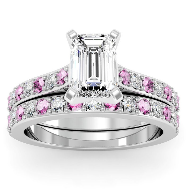 California Coast Designs Pave Pink Sapphire & Diamond Cathedral Engagement Ring with Matching Wedding Band