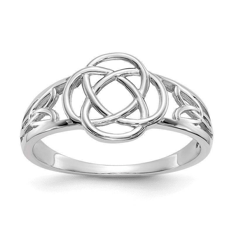 Quality Gold 14k White Gold Ladies Celtic Knot Ring