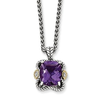 Sterling Silver w/14k Antiqued Amethyst and Diamond Necklace