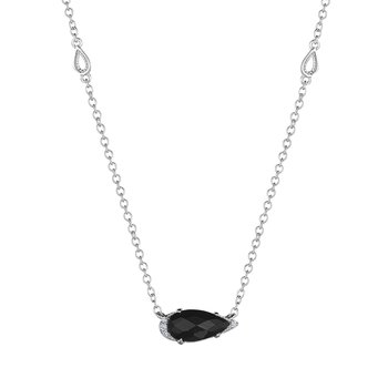 Solitaire Pear-Shaped Gem Necklace with Black Onyx