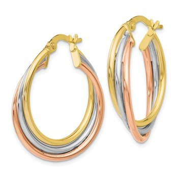 Leslie's 10K Tri-color Polished and Textured Twisted Hoop Earrings