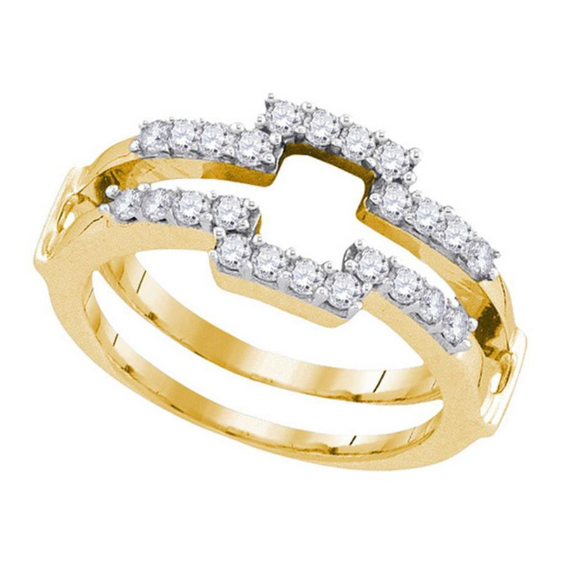 Gold-N-Diamonds, Inc. (Atlanta) 14kt Yellow Gold Womens Round Diamond Square Wrap Ring Guard Enhancer Wedding Band 1/2 Cttw