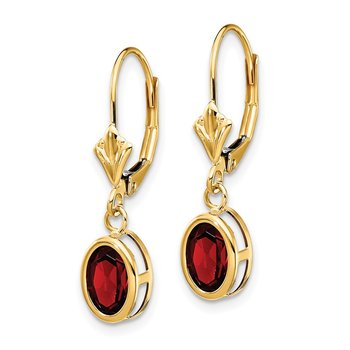 14k 7x5mm Oval Garnet Leverback Earrings
