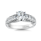 Valina Classic Elegance Collection Engagement Ring With Diamond Side Stones in 14K White Gold (0.65 ct. tw.)