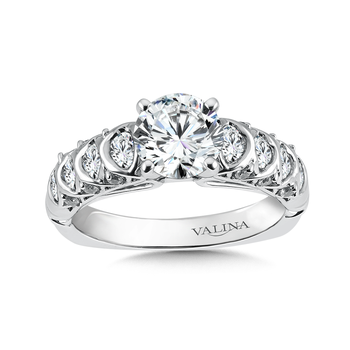 Classic Elegance Collection Engagement Ring With Diamond Side Stones in 14K White Gold (0.65 ct. tw.)