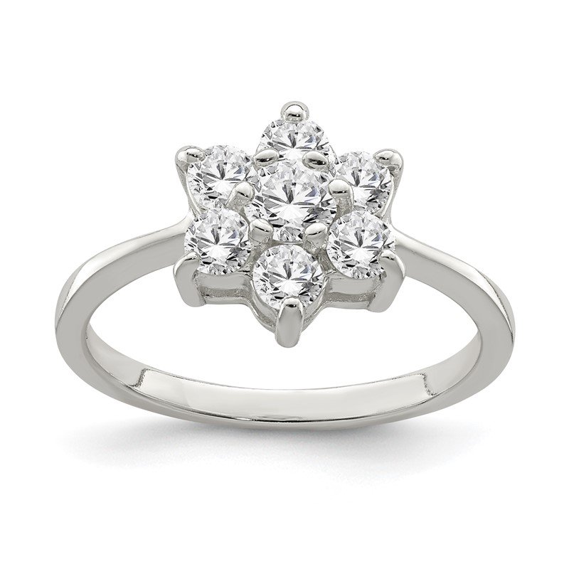 Quality Gold Sterling Silver CZ Flower Ring
