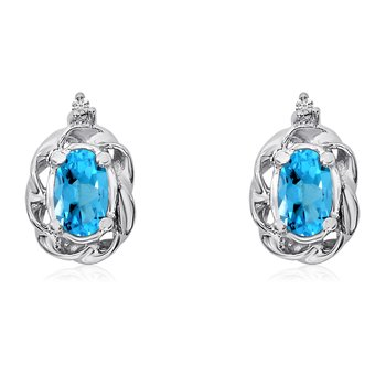 14k White Gold Blue Topaz Scroll Diamond Earrings