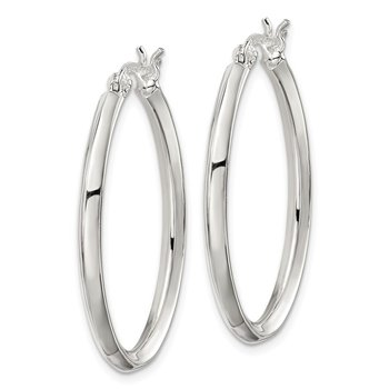 Sterling Silver 3mm Oval Hoop Earrings