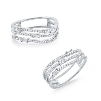 Triple Row Diamond Wave Mosaic Band Set in 14K White Gold