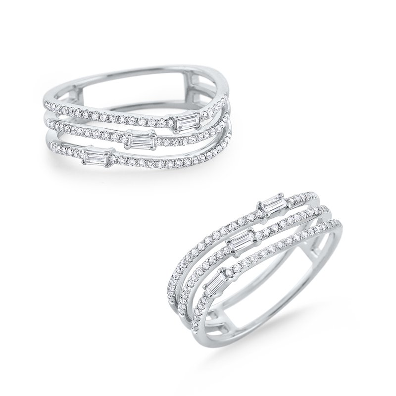 KC Designs Triple Row Diamond Wave Mosaic Band Set in 14K White Gold