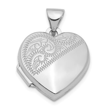 Sterling Silver Rhodium-plated 15mm Heart Locket