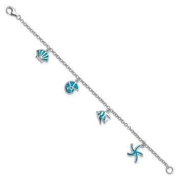 Sterling Silver Rhodium Created Opal Fish and Shells Charm Bracelet