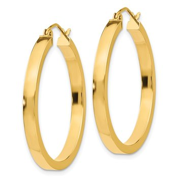 14k 2x3mm Square Tube Hoops