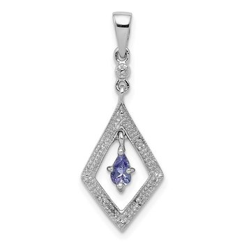Sterling Silver Rhodium Plated Diamond and Tanzanite Pendant