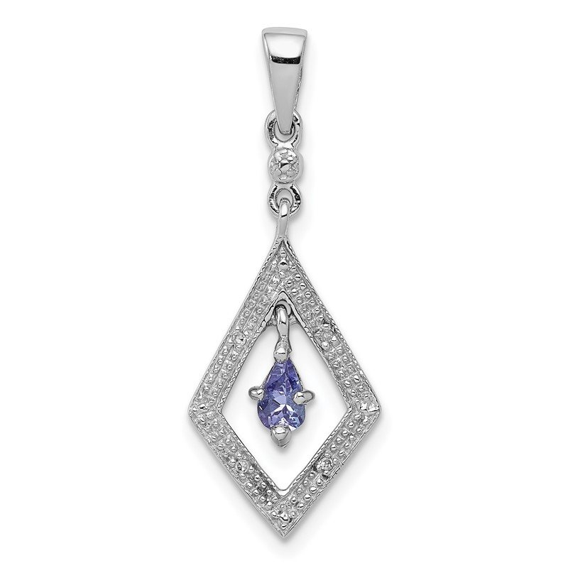 Quality Gold Sterling Silver Rhodium Plated Diamond and Tanzanite Pendant