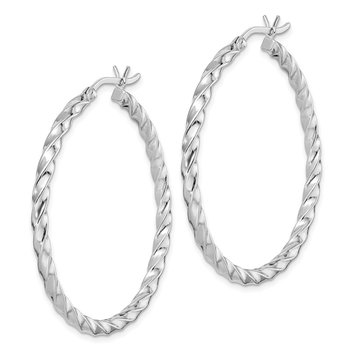 Sterling Silver Twisted 3x40mm Hoop Earrings
