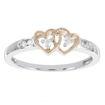10k White Gold and 10k Rose Gold Diamond Accent Double Heart Promise Ring