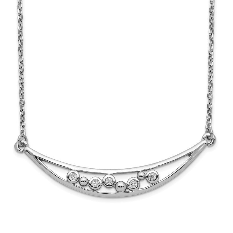 Quality Gold Sterling Silver Rhodium-plated CZ Arc w/1in. Ext. Necklace