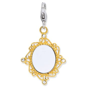 Sterling Silver Enameled 3-D Gold Plated Mirror w/Lobster Clasp Charm