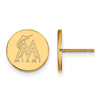 Gold-Plated Sterling Silver Miami Marlins MLB Earrings